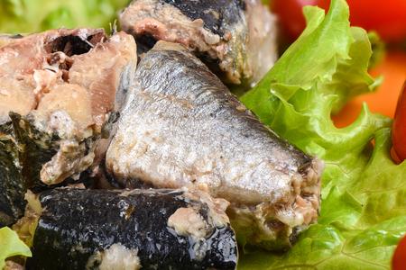 Macro shot. Sliced canned sardine iwashi on lettuce leaves. Rustic style.