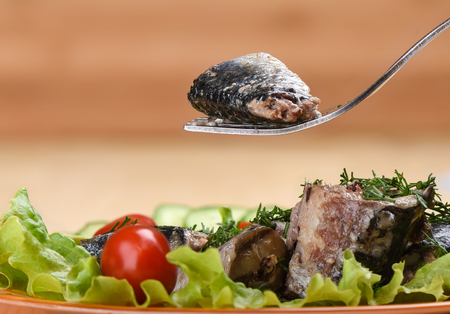 A piece of canned sardine on a fork above a plate of sardines and vegetables. Copy space. Rustic style. Banco de Imagens