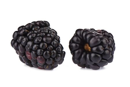 Two ripe blackberries over white background. Macro shot. Copy space Stock Photo