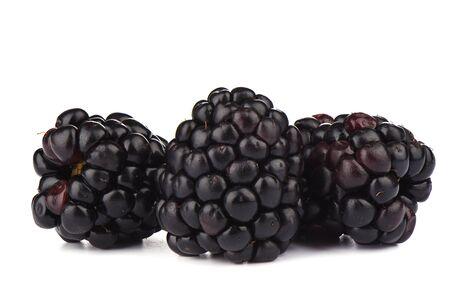 Three ripe blackberries over white background. Macro shot. Copy space Stock Photo