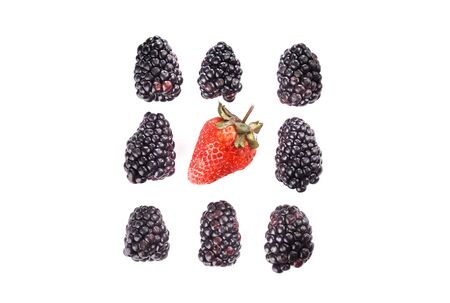 Ripe blackberries and strawberry isolated on white background. Three rows of berries on three berries. View from above.