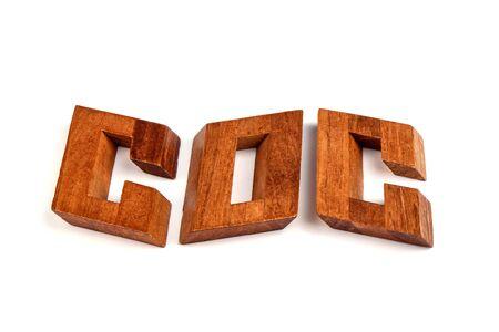 Dismantled wooden constructor puzzle oblique knot on a white background. Puzzle concept. Archivio Fotografico