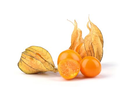 Some fresh physalis berries isolated on a white background. Close up. Copy space. Stok Fotoğraf