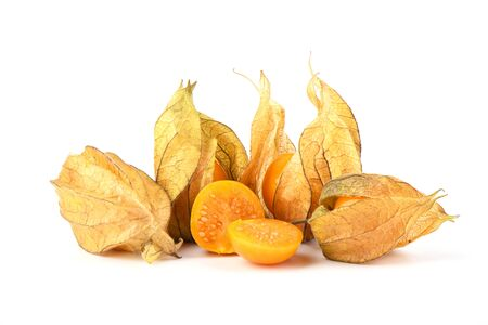 Whole and halves of physalis berries isolated on a white background. Close up. Copy space. Stok Fotoğraf
