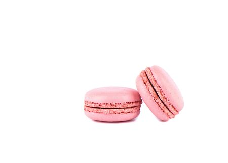 Two pink macaroon isolated on a white background. 写真素材