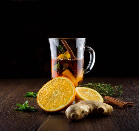 Vitamin tea with orange, lemon, mint, thyme, ginger root and cinnamon.