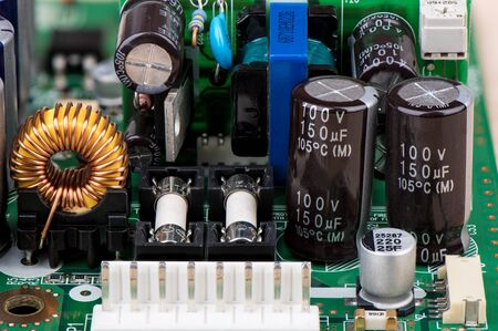 Various electronic components on the electronic board. Close up. Imagens