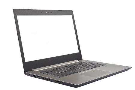 Der Laptop der grauen Farbe ist auf einem weißen Hintergrund isoliert. Standard-Bild