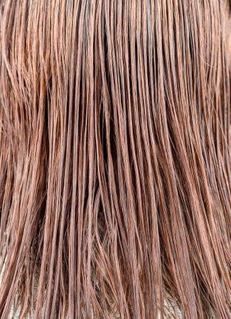 Full frame of wet female hair as background. Hair care. Macro shot
