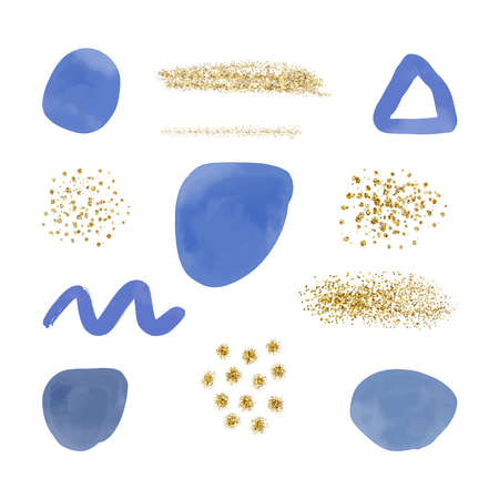 Blue brush stroke watercolor splashes with gold glitter confetti. Modern washes design elements.