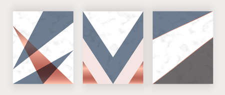 Geometric cover design with pink, blue and copper triangles on the marble texture.