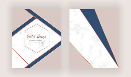 Geometric design cards with nude, blue and copper triangles on the marble texture. Ilustrace