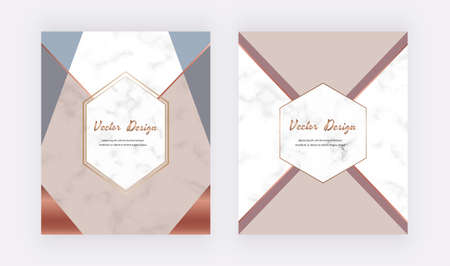 Geometric design cards with nude, blue and gold triangles on the marble texture.
