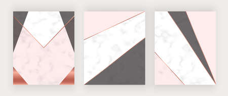 Geometric cover with pink, blue and gold triangles on the white marble texture.