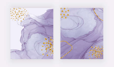 Purple alcohol ink texture covers with gold glitter confetti. Abstract hand painted watercolor background. 免版税图像 - 157998993