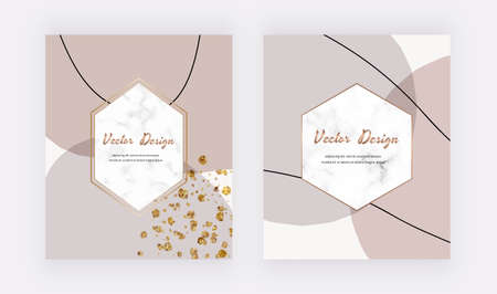 Abstract mid century design covers with and brown shapes, lines and marble frames