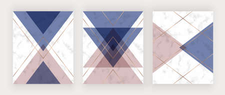 Geometric design with pink, blue and gold triangles on the marble texture. 矢量图像