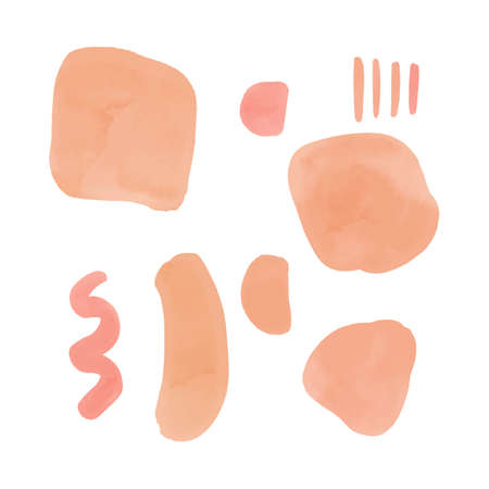 Abstract nude brush stroke watercolor shapes. Modern washes design elements.