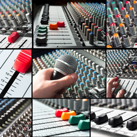 mixing: Audio mixer tileset with microphone and sliders Stock Photo