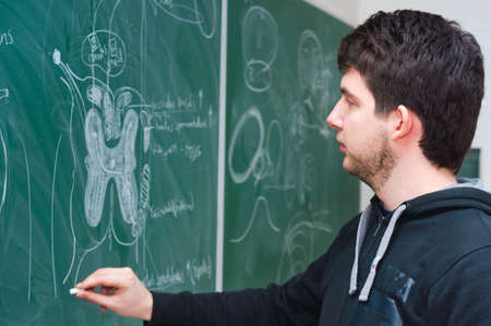 Young student showing spinal chord on green chalk board Stock Photo - 9486649