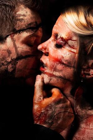 erotic fantasy: dark art of a young couple kissing Stock Photo