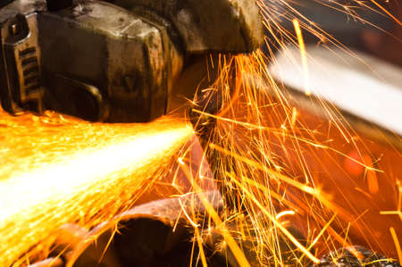Machine cutting metal with sparks Stock Photo - 9486588