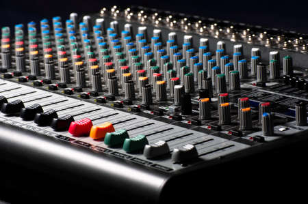 Closeup of an audio sound mixer Stock Photo - 9486229