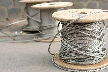 Spools of unused steel wire photo