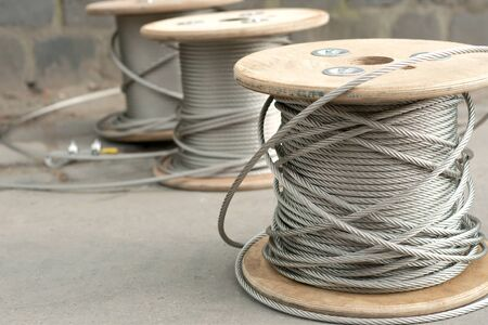 copper wire: Spools of unused steel wire