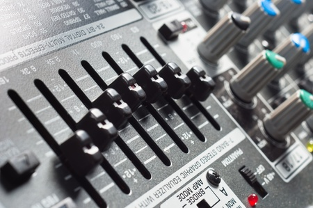 Part of an audio sound mixer with buttons Stock Photo - 9511317