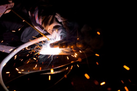 Welding plates togather with sparks Stock Photo - 9510664