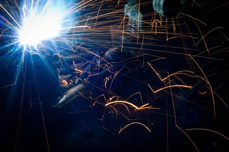 Hot sparks at grinding steel material Stock Photo - 9510879