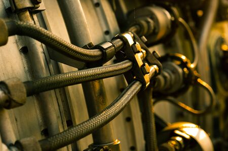 jet engine part with hoses Stock Photo - 9511174