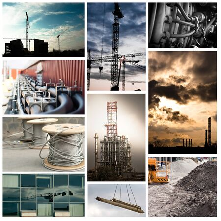Industrial tileset with buildings, hoses and construction sites photo