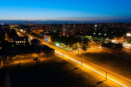Night shot of a busy city with apartments and lights Stock Photo - 9668866