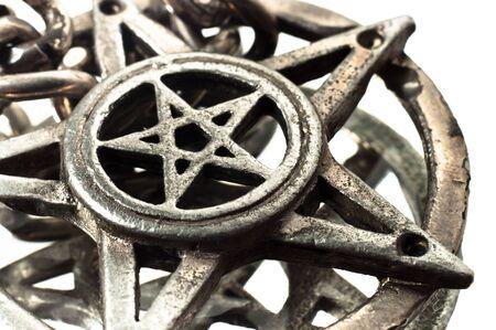 alquimia: Pentagrama con disparo de macro de reflexi�n Foto de archivo