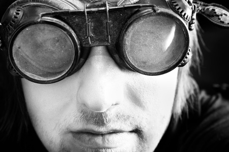 Young survivor of the apocalypse in goggles with light Stock Photo - 10193726