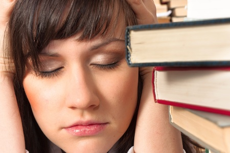 semester: Young student has a lot to study this semester Stock Photo