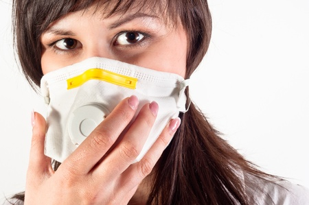 hospital worker wearing protective mask against white background Stock Photo - 10536354