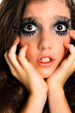 Terrified girl in extreme makeup Stock Photo - 10880187