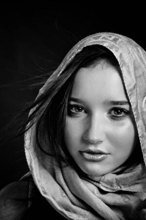 Closeup of a beautiful girl in scarf in black and white Stock Photo - 10880183