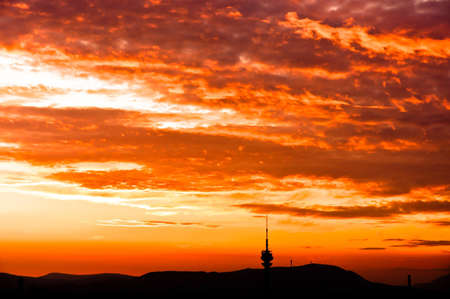 Silhouettes of mountains and sky with cliuds Stock Photo - 10880103