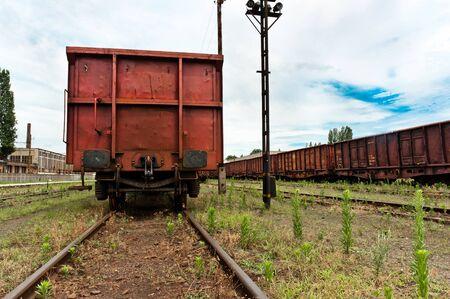 Train at trainstation angle shot photo