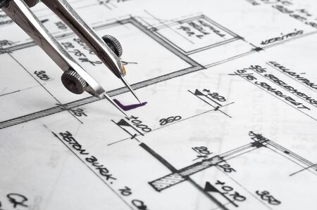 Construction plans with accessories photo