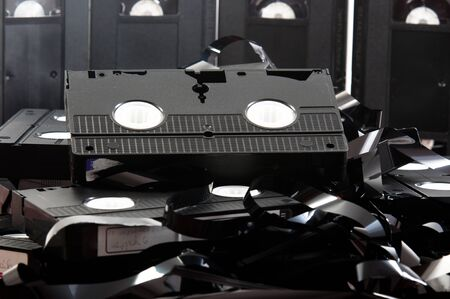 Old VHS tapes ripped apart photo