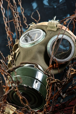 radiation pollution: apocalyptic gasmask in the bond of eternal darkness Stock Photo
