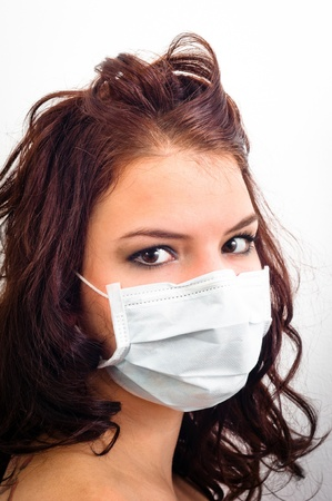 Closeup of a girl in medical mask