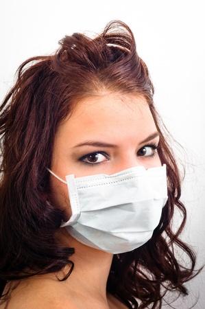 medical mask: Primer plano de una chica de la m�scara m�dica