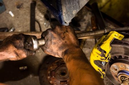 manos sucias: La mano de un trabajador en un trabajo duro
