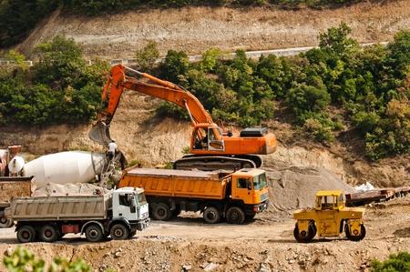 light duty: Construction machines at quarry